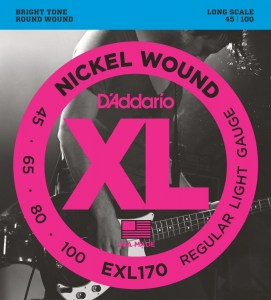 EXL170TP Nickel Wound Bass, Light, 45-100, Long Scale - 2 sæt